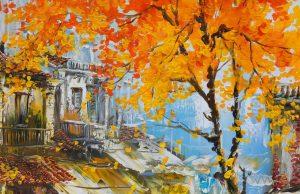 Tranh sơn dầu phố cổ Hà Nội về mùa thu