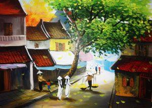 Tranh sơn dầu phố cổ Hà Nội về người con gái
