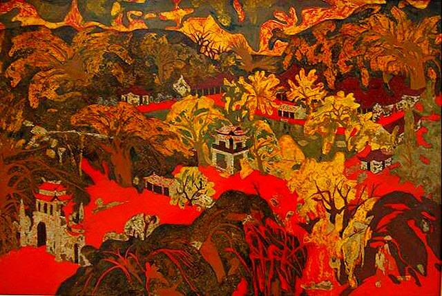 Tác phẩm Cảnh Thôn một trong những bức tranh tiêu biểu của họa sĩ Nguyễn Gia Trí
